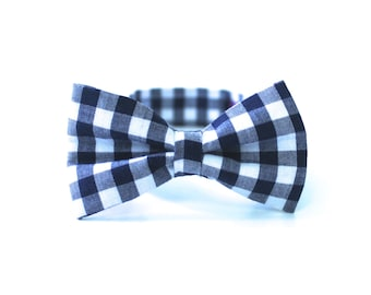 Boy's Bow Tie - Navy Blue Gingham - any size boy's bow tie - navy gingham tie Bow Tie and Suspenders Set - Gingham Bowties - ring bearer tie