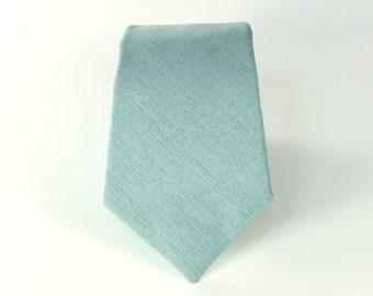 Men's Tie - J Crew Inspired Dusty Shale Groomsman Necktie - Dusty Grey Green Linen Neck Tie - matches BHLDN sea glass dresses - mens necktie