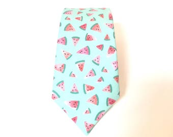 Watermelon Tie men's ties Mens Watermelon Tie watermelon necktie mint green and coral pink watercolors fabric skinny ties Print Theme