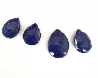 Set of Four 4 Lapis Lazuli Faceted Pears 15x11 - 12x9