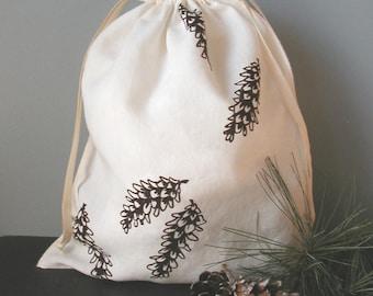 Gift Bag - Organic linen drawstring produce bag -  Screen printed with pine cone design- Reuseable Cloth Bag