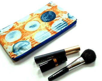Cosmetic bag,  zipper pouch, cotton fabric makeup case, diaper bag organizer, women teen, ouch pouch, pencil case