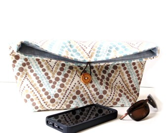 Fold over clutch purse, blue brown cream cotton fabric, Spring handbag, pouch bag