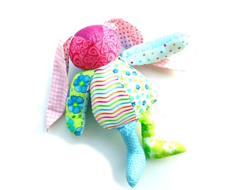 Custom bunny rabbit, Easter bunny, handmade keepsake gift, stuffed bunny from your clothing, memory animal, shelf sitter, recycled clothing