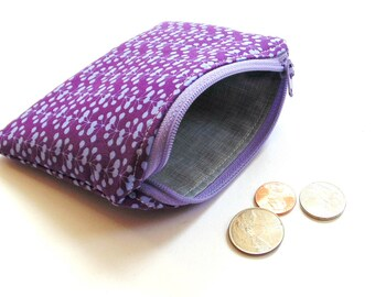 Change purse zipper pouch womens coin purse, purple floral, small wallet, gift for her