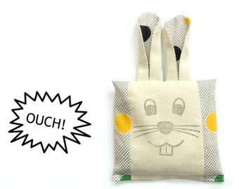 Cold compress boo boo bag, ouch pouch, boo boo bunny, colorful dots, freezer pack, rice pack, toddler first aid, rice bag
