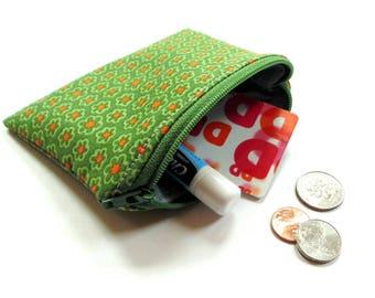 Coin purse, zipper pouch, orange green money holder, change purse, small wallet, gift card holder