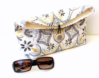 Spring handbag foldover clutch purse, black grey yellow cotton, womens everyday bag, teen bag