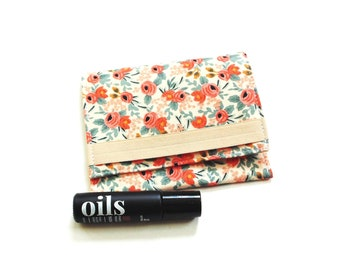 Essential oil travel pouch holds 3 roller bottles, Cotton & Steel floral fabric
