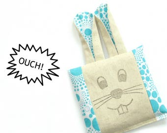 Boo boo bunny, cold compress, ouch pouch, toddler first aid, boo boo bag, long eared blue bunny bag, freezer bag, rice bag