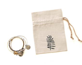 Linen fabric gift bag, drawstring pouch, Happy birthday gift bag, jewelry favor bag travel pouch, fern motif