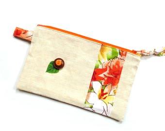 Cosmetic bag, zipper pouch, linen make up bag, color block, peach floral print, women teen pencil case