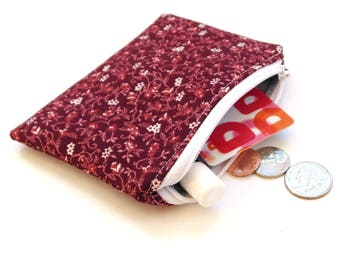 Zipper pouch coin purse, womens change purse, mauve pink floral, gift for her, small wallet, coin bag