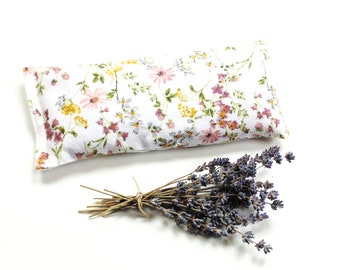 Microwavable lavender eye pillow with flax seed in soft flannel fabric