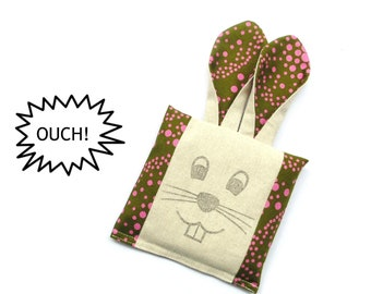 Kids boo boo cold compress pack, boo boo bunny bag, freezer ouch pouch, olive green pink