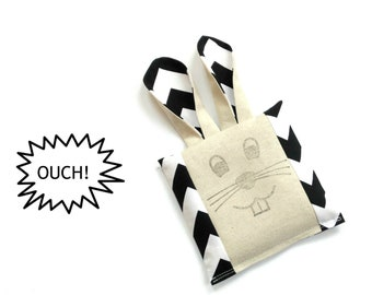 Kids Boo boo bunny cold compress, black white chevron fabric boo boo bag, ouch pouch, toddler first aid, freezer pack, rice bag