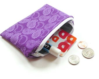 Change purse, zipper pouch  small wallet, women teen, purple paisley print fabric coin purse and card holder