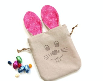 Bunny bag, Easter bag with ears, treat bag, candy bag, linen gift bag, long ear bunny, goodie bag
