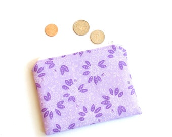 Change purse, purple floral coin pouch, credit card case, zipper pouch, gift for her, small wallet