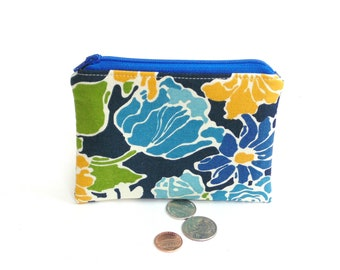 Floral change purse small wallet, flower garden fabric coin pouch, credit card case, zipper pouch, gift under 10