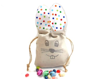 Easter bunny party gift bag, linen drawstring bag, long ear bunny, kids birthday party favor bag