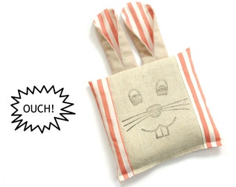 Boo boo bunny freezer cold compress rice pack, cold therapy, kids toddlers boo boo bag, ouch pouch