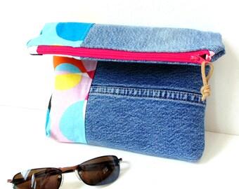 Color block bag, fold-over clutch, denim handbag, recycled blue jeans bag, zipper pouch