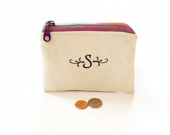Personalized coin pouch embroidered initial linen, essential oil bag with rainbow zipper