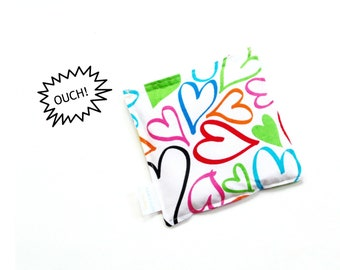 Microwavable heating pad, hot/cold rice bag colorful hearts fabric