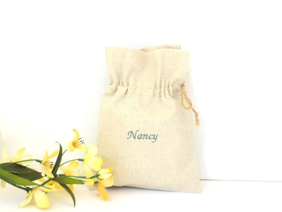 Custom Name Gift Bag Reusable Linen Drawstring Pouch Birthday
