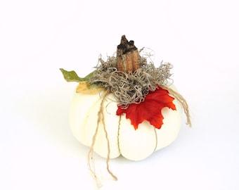 White fabric stuffed pumpkin with real  stem, Halloween Thanksgiving farmhouse decor