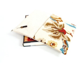 Zipper pouch pocket for hardcover books paperbacks, stitching WIP craft embroidery projects