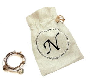 Linen fabric gift bag, initial letter, Mom Happy birthday bag, linen drawstring pouch, personalized