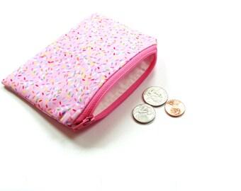Change purse, small wallet, pink zipper pouch, credit card holder, women teen coin purse
