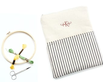 Personalized large zipper pouch bag for craft storage or books, embroidery hoop Q-snap frame bag, custom order