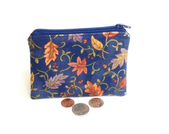 Change purse coin pouch, soft flannel cotton small wallet, zipper pouch, credit card case, gift under 10