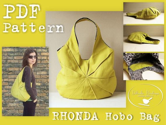 PDF Sewing Pattern To Make Hobo Bag Sling Tote Rhonda INSTANT Etsy Delectable Free Bag Patterns To Download Pdf