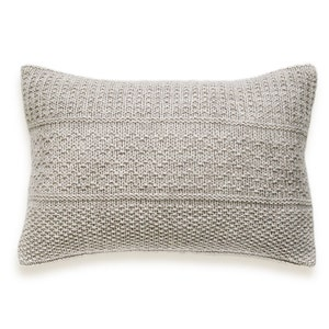 Seed Stitch Knit Pillow Cover In Flax
