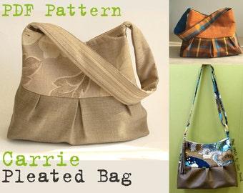 PDF Sewing Pattern to make Pleated Bag Cross Body or Shoulder Bag CARRIE easy sewing tutorial