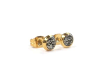Crushed Pyrite Stone Gold Plated Stud Earrings 3 Sizes!