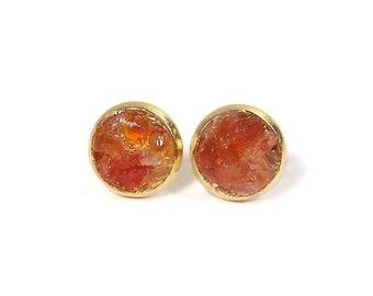 8mm Crushed Orange Carnelian Stone Gold Plated Stainless Steel Stud Earrings