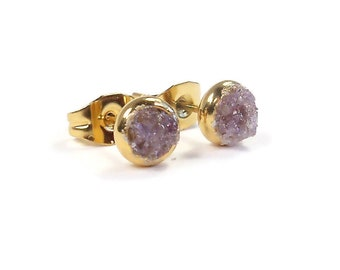 4mm Crushed Amethyst Stone Gold Plated Stud Earrings