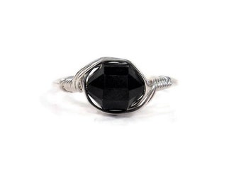 Lg Black Tourmaline Barrel Cut Argentium Sterling Silver Wire Wrapped Ring Custom Sized