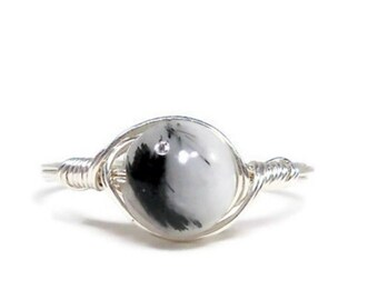 LG Tourmalated Quartz Argentium Sterling Silver Wire Wrapped Ring