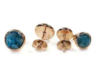 Crushed Blue Apatite Rose Gold Plated Stud Earrings 3 Sizes!