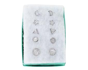 Earring Set of 5 Crushed Selenite Stone Stainless Steel Stud Earrings