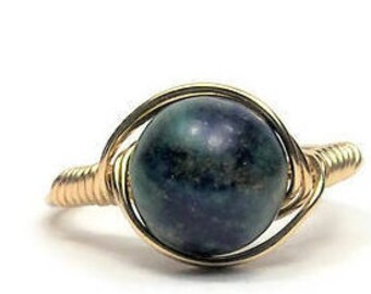 Lg Chrysocolla Azurite Ring 14k Gold Filled Custom Sized Wire Wrapped Gemstone Ring