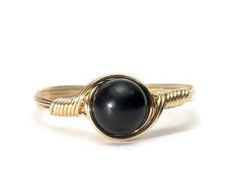 Black Tourmaline Ring 14k Yellow Gold Fill Wire Wrapped Ring