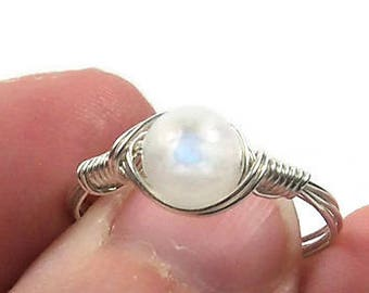 Rainbow Moonstone Ring Argentium Sterling Silver Wire Wrapped Ring