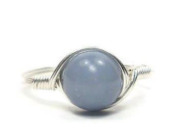 LG Angelite Ring, Argentium Sterling Silver Ring, Wire Wrapped Stone Ring, Custom Sized Ring